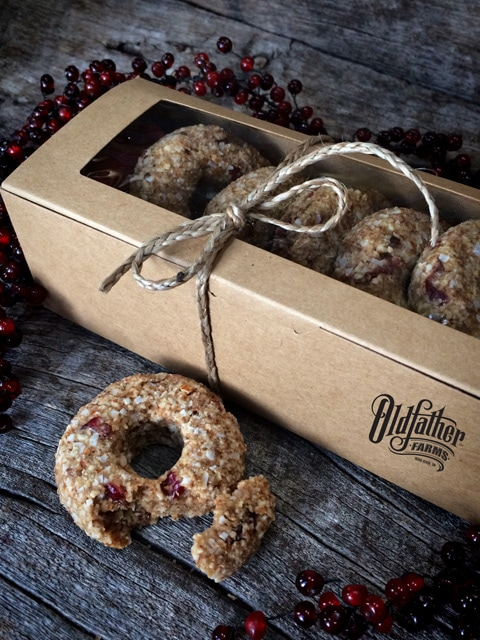 Raw Gluten-Free Cranberry Pumpkin Spiced Donuts in box, great gift