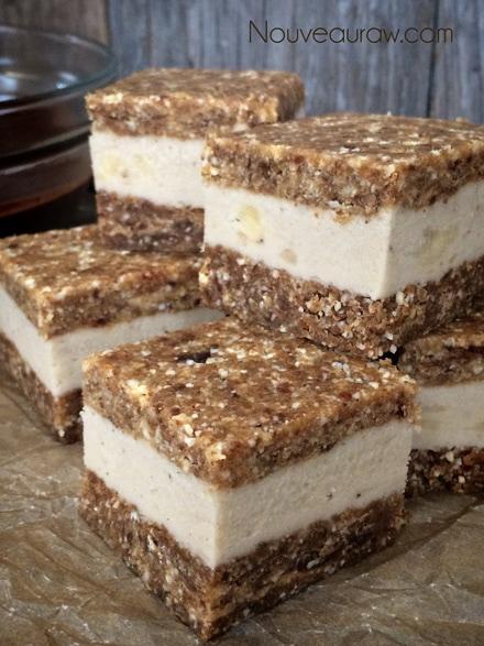 "Cut into 2x2"" squares. raw, vegan, gluten-free Peanut butter Banana Split on a Stick"