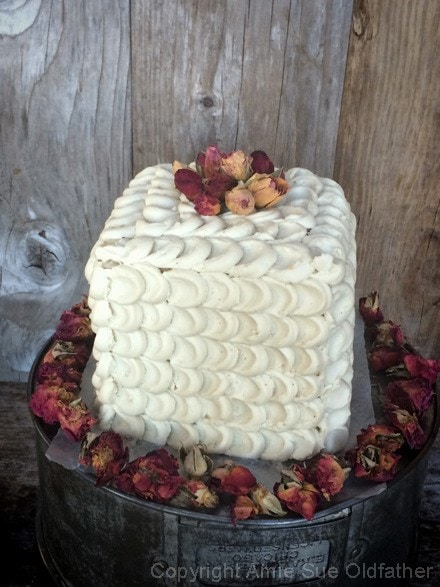 Enjoy the Masterpiece, Five Layer Petal Cake decorated with organic dried rose petals