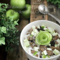 raw vegan Cinnamon-Apple-Raisin-Buckwheat-Crisps with fresh green apple