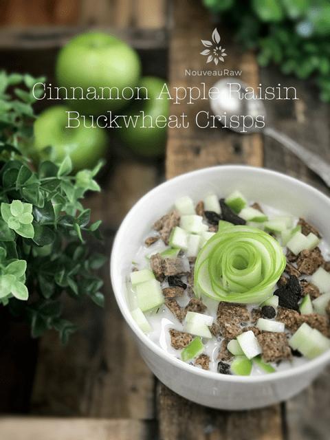raw vegan Cinnamon-Apple-Raisin-Buckwheat-Crisps with fresh green apple