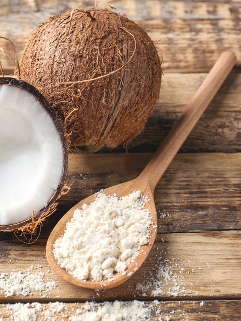 How to make coconut flour from dry coconut, on wooden spoon
