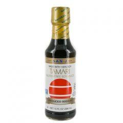 Glass San-J Tamari Gluten Free White Label Sauce, 10 Ounce