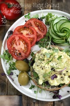"""Eggless-Egg-Salad,-with-agar-""""eggs' served with fresh tomatoes"""
