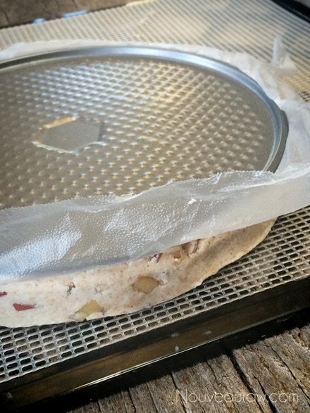 Carefully flip upside down onto the mesh sheet that comes with the dehydrator