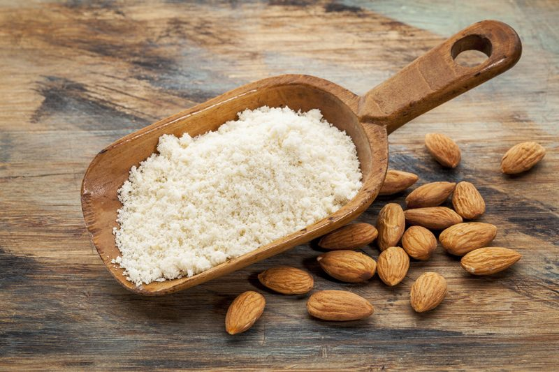 Almond Flour in a Wooden Spoon