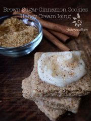 Brown Sugar Cinnamon Cookies with Honey Cream Icing (raw, gluten-free)