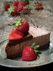 Chocolate and Strawberry Zebra Cheesecake  (raw, vegan, gluten-free)