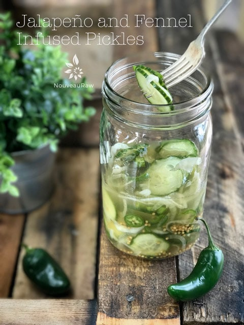 Jalapeño-and-Fennel-Infused-Pickles served in a mason jar