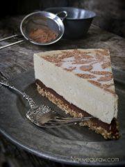 Fresh Peach and Chocolate Ganache Cream Pie  (raw, vegan, gluten-free)