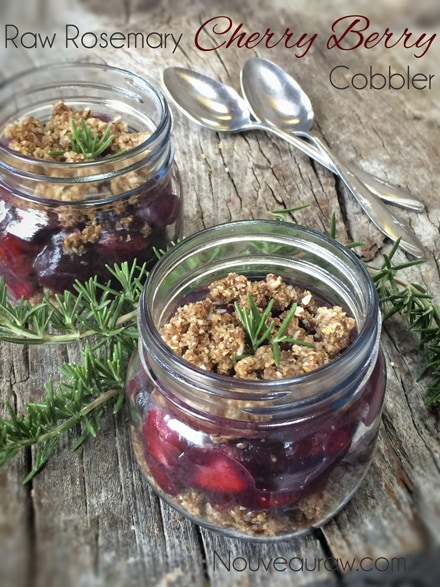 Raw, Vegan, Gluten-Free recipe for Rosemary Cherry Berry Cobbler.