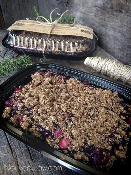 raw vegan gluten-free Rosemary Cherry Berry Cobbler in a tray