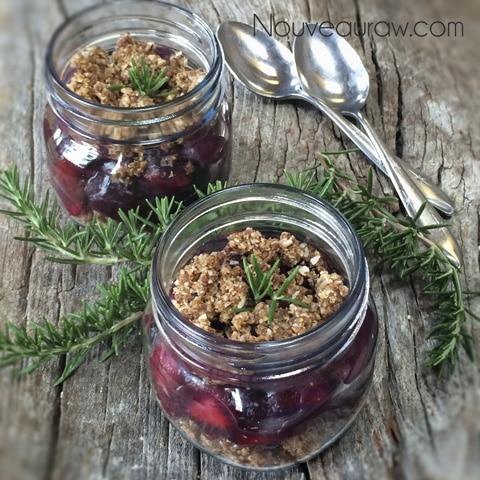 over head shot of raw vegan gluten-free Rosemary Cherry Berry Cobbler
