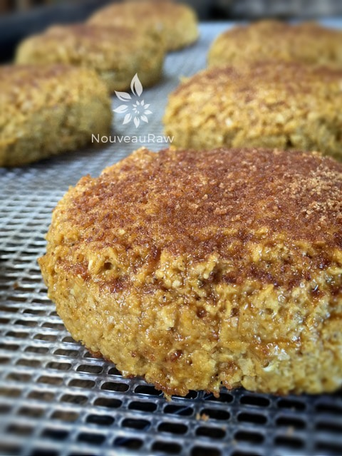 a close up of sprinkling coconut crystals over an over view raw vegan gluten free of Soft Brown Sugar Ginger Cookies
