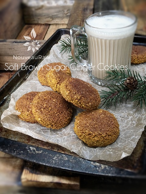 Soft Brown Sugar Ginger Cookies displayed on an antique baking tray