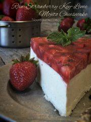 Strawberry Key-Lime Mojito Cheesecake (raw, vegan, gluten-free)