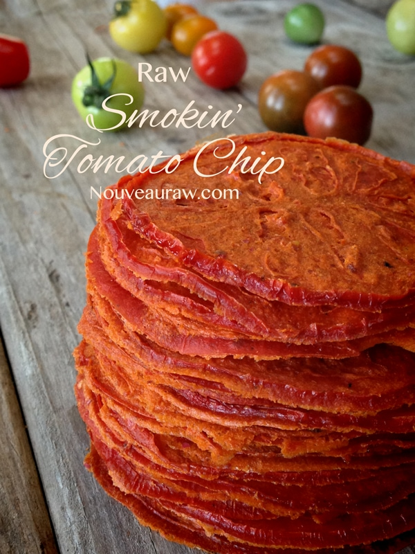 a tall stack of dehydrated Smokin' Tomato Chips - Raw, Vegan, and Gluten-Free