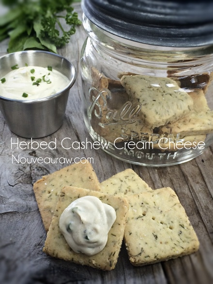 raw vegan Herbed Cashew Cheese served on crackers