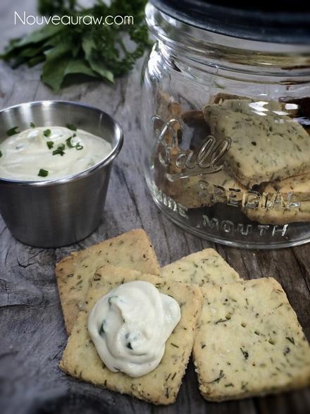 raw vegan Herbed Cashew Cheese on herbed crackers