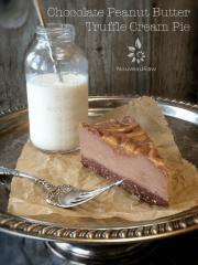 Chocolate Peanut Butter Truffle Cream Pie  (raw, vegan, gluten-free)