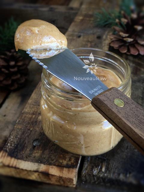 a close up of raw, vegan fluffy-peanut-butter-dip