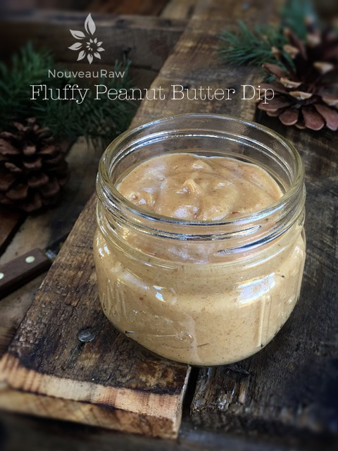 fluffy-peanut-butter-dip displayed on a wooden pallet