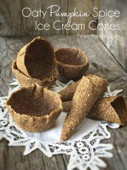 Oaty Pumpkin Spice Ice Cream Cones (raw, vegan, gluten-free, nut-free)