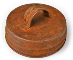 Package of 12 – Rusted Metal Tin Small Mouth Screw On Canning Jar Lids with Handle
