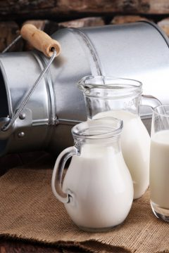 homemade almond milk in pretty glass pitchers