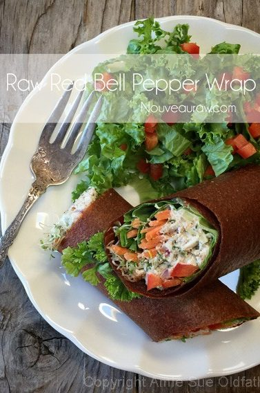 Raw, Vegan, Gluten-Free, Nut-Free Red Bell Pepper Wraps
