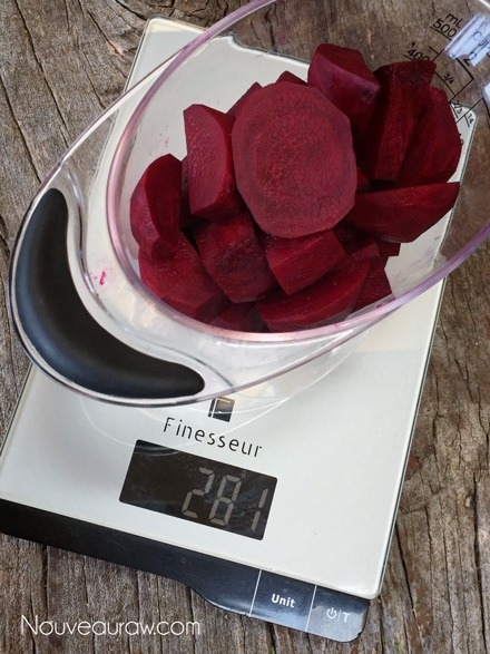 Weighing out the beets to make red velvet cake