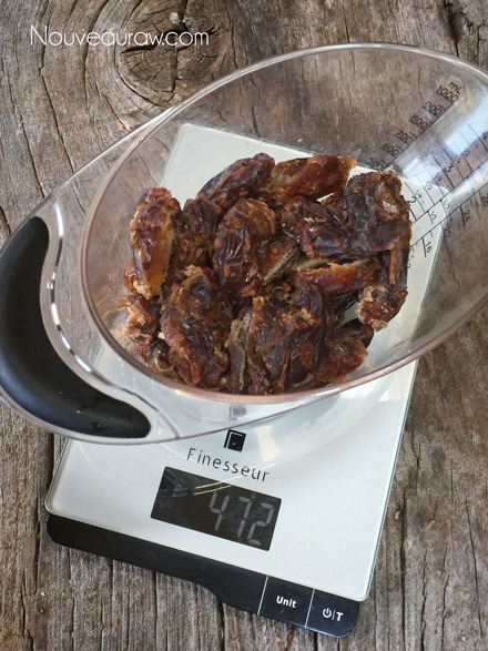 Weighing out the pitted Medjool dates