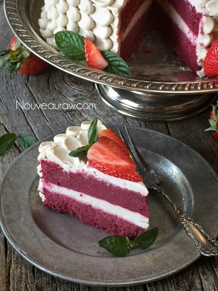 Looking inside of a Velvety Raw Gluten-free Red Velvet Cake