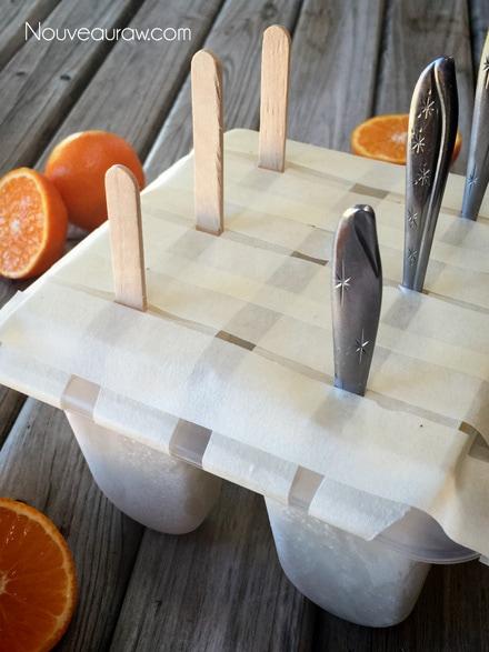 raw vegan Orange Julius Creamsicle Lollies ready for the freezer