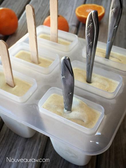raw vegan Orange Julius Creamsicle Lollies frozen and ready to be enjoyed