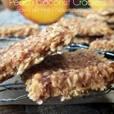 vegan nut-free raw gluten-free crackers, cinnamon peach coconut crackers