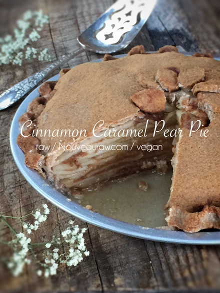 Raw, Vegan Cinnamon Caramel Pear Pie from Nouveau Raw