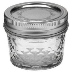 Ball Jar Crystal Jelly Jars with Lids and Bands, Quilted, 4-Ounce, Set of 12