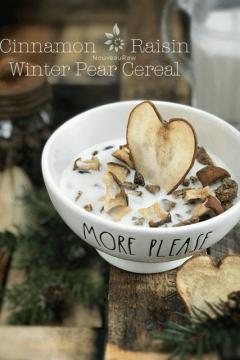 raw vegan Cinnamon-Raisin-Winter-Pear-Cereal in a Rae Dun bowl