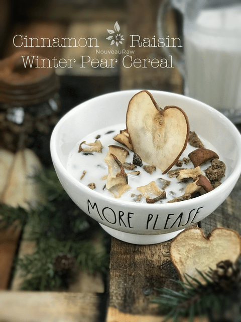 raw vegan Cinnamon-Raisin-Winter-Pear-Cereal in a Rae Dun bowl
