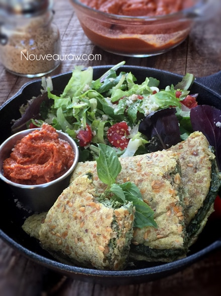 "Raw Healthy Spinach Basil ""Cheese"" Calzone with Fresh Greens"