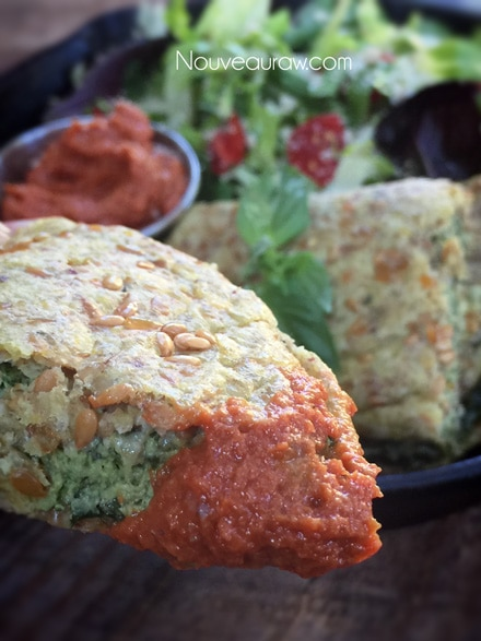 "Raw Healthy Spinach Basil ""Cheese"" Calzone"