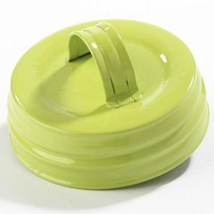 Package of 6 Small Mouth Canning Jar Lids with Handle in Spring Green