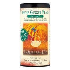 The Republic Of Tea, Decaf Ginger Peach Black Tea, 50 Tea Bag Tin