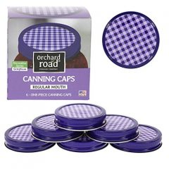 Mason Jar Lids – Decorative Canning Caps Fit Regular Mouth Mason Jars – Gingham Design – Pack of 6