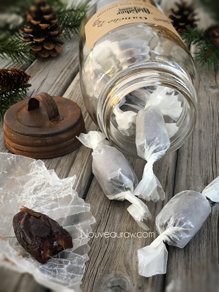 "a jar tipped over, spilling out Salted ""Caramel"" Ganache Truffles"