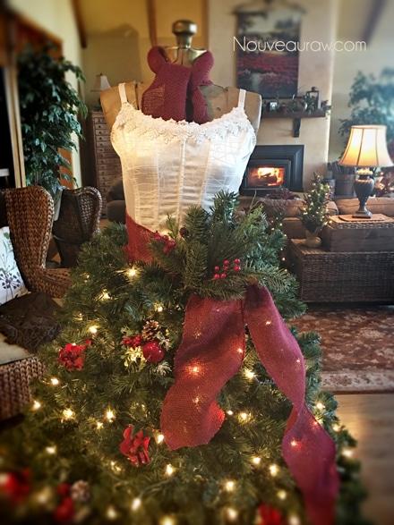 a close up of How to Create a Dress Form Christmas Tree all lit up - How to make a Christmas Tree Dress