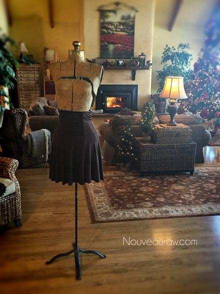 adding a skirt to the antique dress form - How to make a Christmas Tree Dress