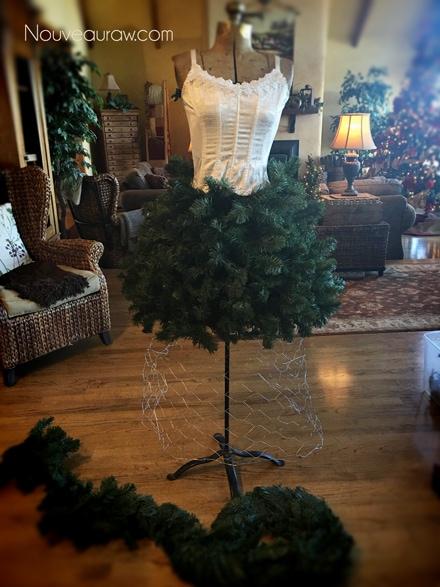 adding a corset to the antique dress form - How to make a Christmas Tree Dress