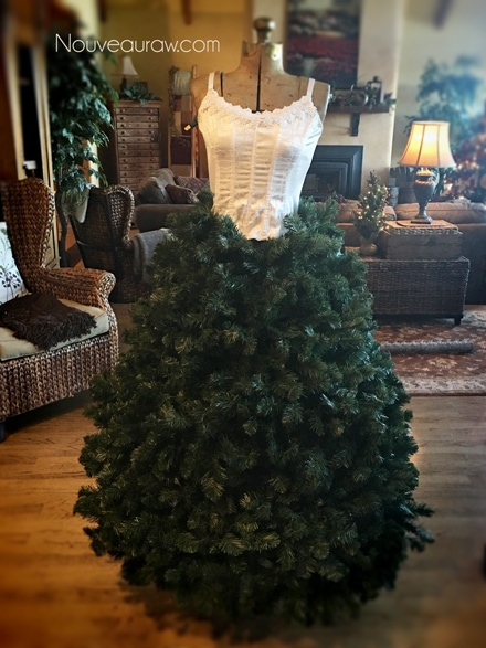 fluff all the pine garland to fill in any holes - How to make a Christmas Tree Dress